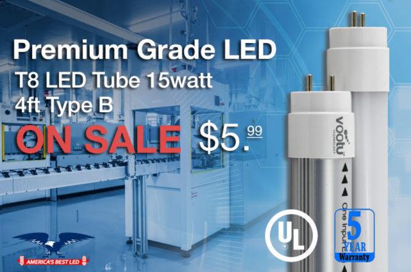 America's Best LED Vootu T8 LED 15 Watt 4 Foot Type B Tube Light